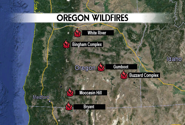 Current Wildfires Burning In Oregon Kobi Tv Nbc5 Koti Tv Nbc2
