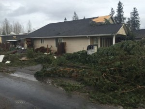 Damage from a reported tornado last Thursday morning in Battle Ground. Photo: KGW Mike Galimanis