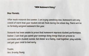 0823 No homework policy